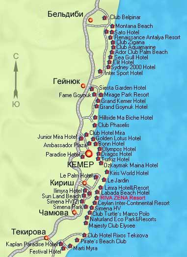 Схема отелей бельдиби